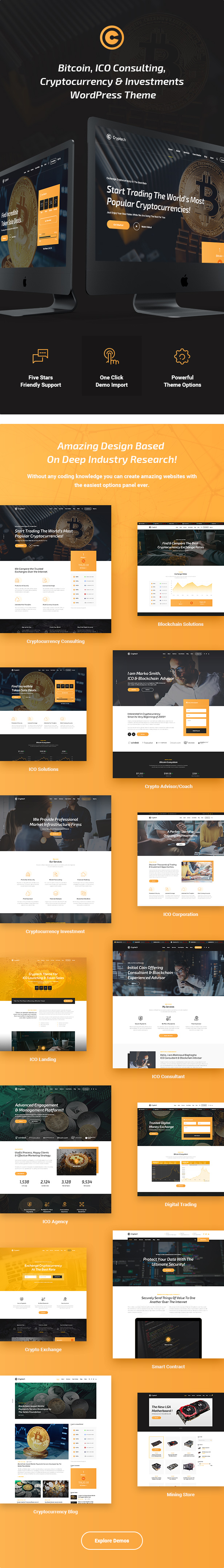 Cryptech - ICO and Cryptocurrency WordPress Theme - 4